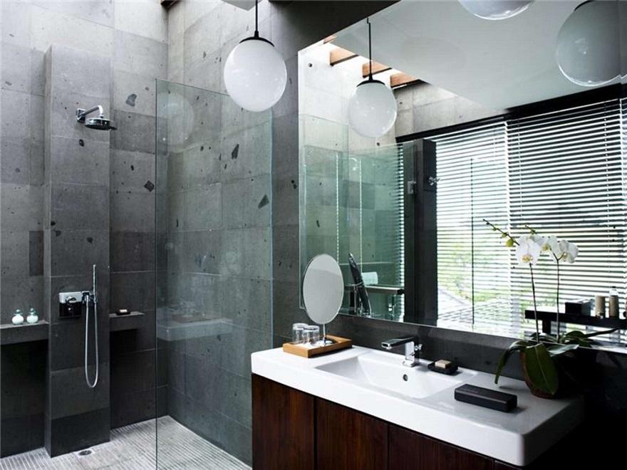 Baños Con Ducha Negra: de baño lujoso y ducha con cerámica gris con manchas negras