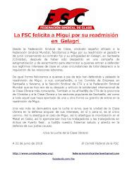 La FSC felicita a Migui por su readmisión en Gelagri