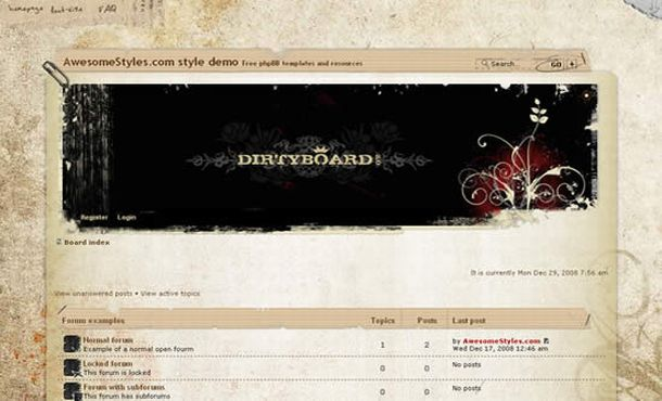 Floral Vintage Brown Phpbb Theme Template