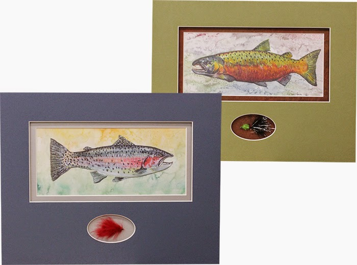 Watercolor Fish Prints and Hand-Tied Flies - by local artists/employees