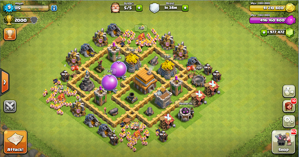 Thropy Base Clash Of Clans TH 5 Terkuat
