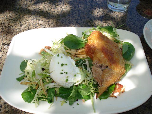 ... Confit frisée salad, warm bacon vinaigrette, mushrooms, poached egg