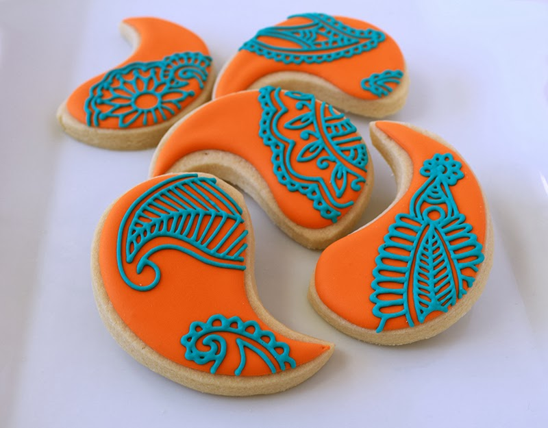 orange and teal henna cookies