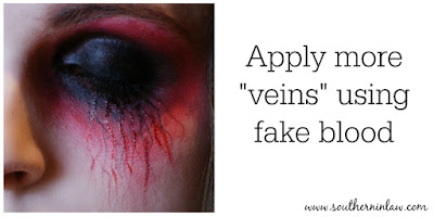 Apply more Veins Using Fake Blood - Zombie Makeup Tutorial Halloween Face Painting