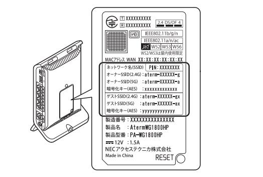 無線LANルータに貼ってあるラベルシールや付属の無線LANセットアップカードから確認