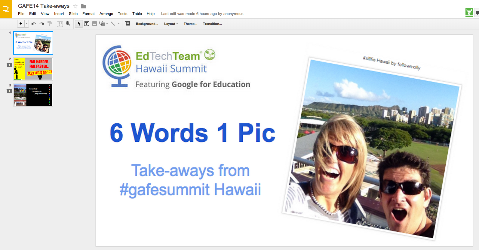 how to stop reflection in google presentation