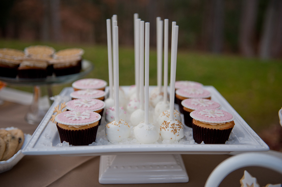 cake pops and cupcakes for a winter wedding