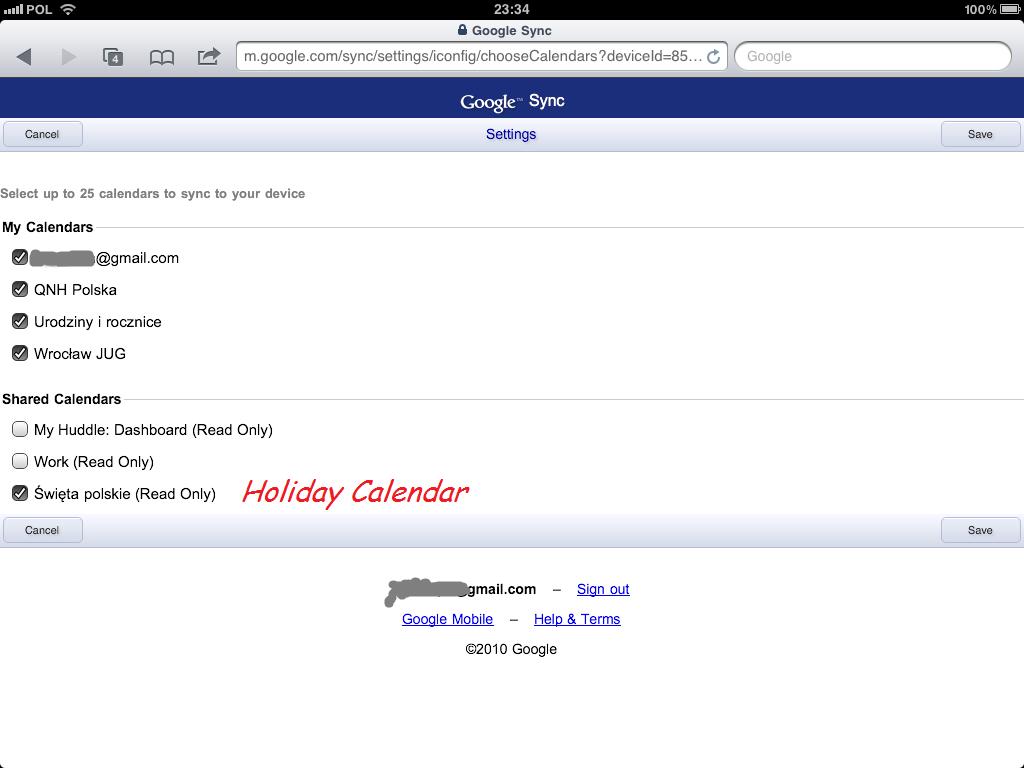 google  calendar ipad sync