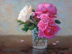 Pink and White Roses in Antique Glass Cup