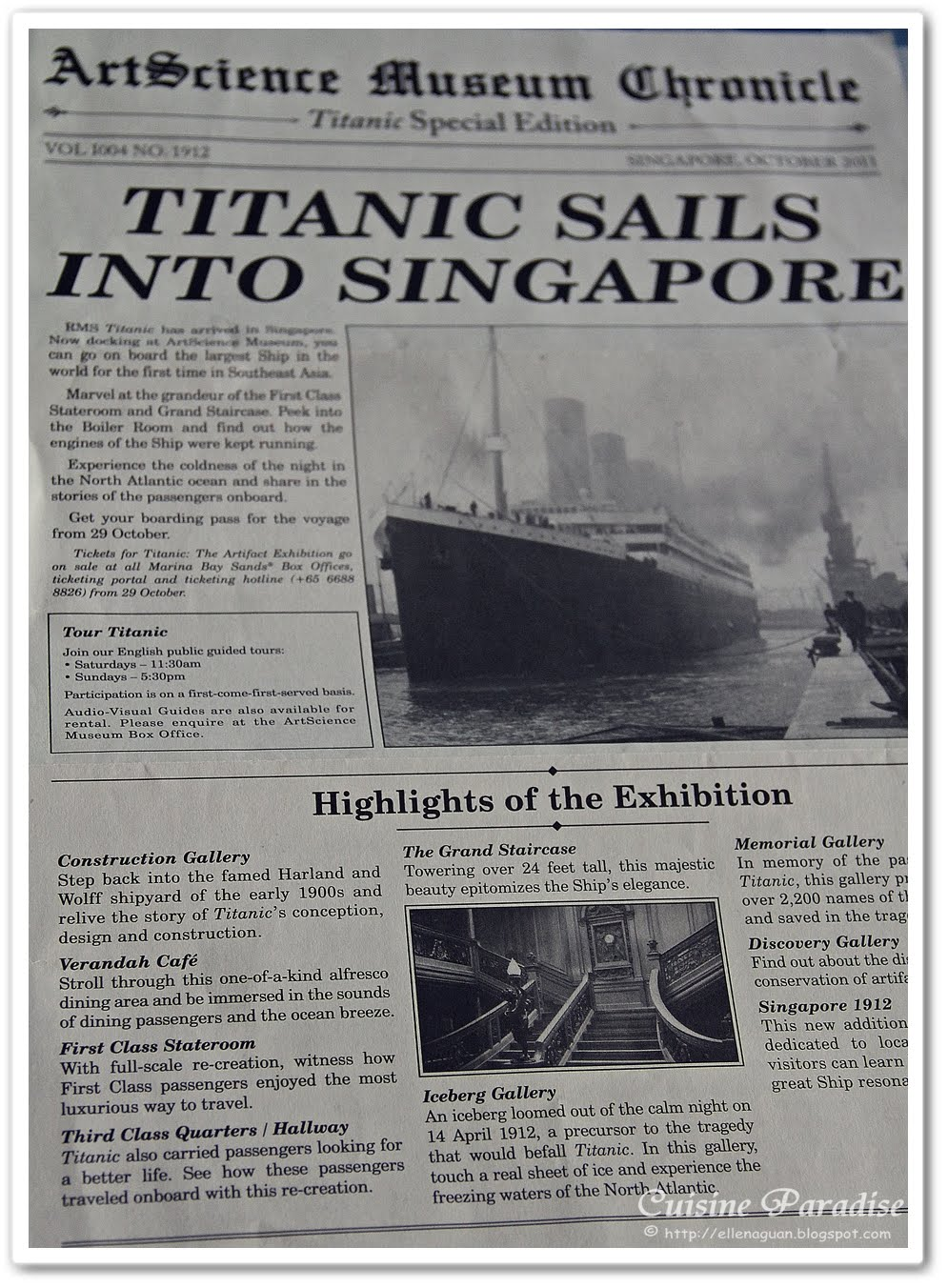 Cuisine Paradise | Eat, Shop And Travel: Titanic: The Artifact ...