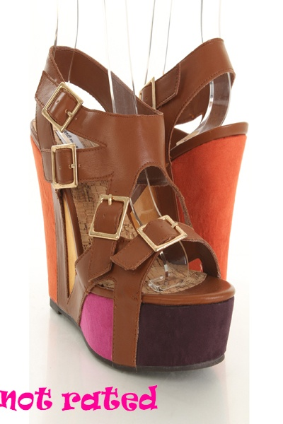Tan Faux Leather Buckle Strappy Peep Toe Faux Suede Colorblock Wedges