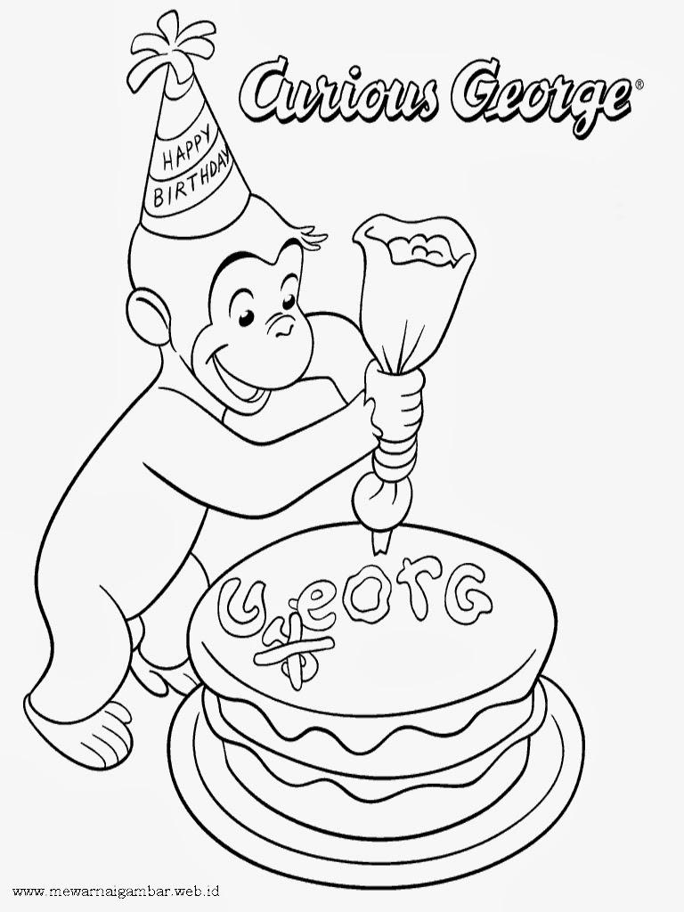mewarnai gambar george membuat kue ulang tahun