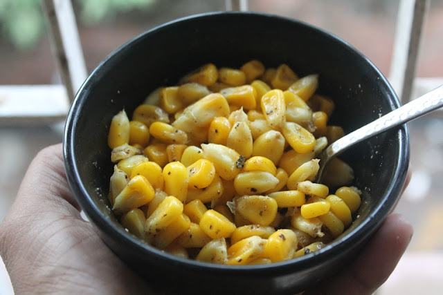 Chat Masala Cup Corn Recipe - Steamed Sweet Corn Recipe