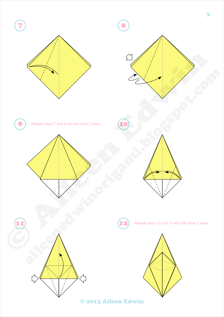 Origami frog base diagrams