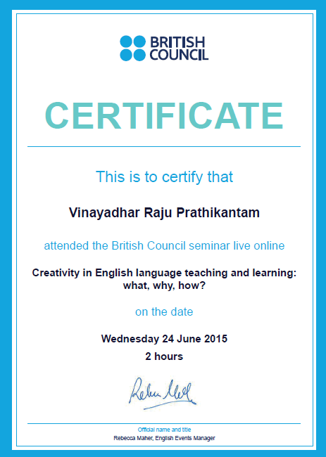 Teaching creativity seminar certificate from British Council