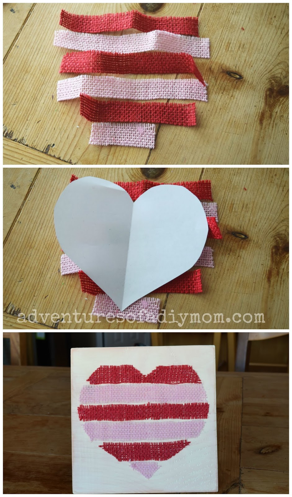 Easy Burlap Heart Valentines Board