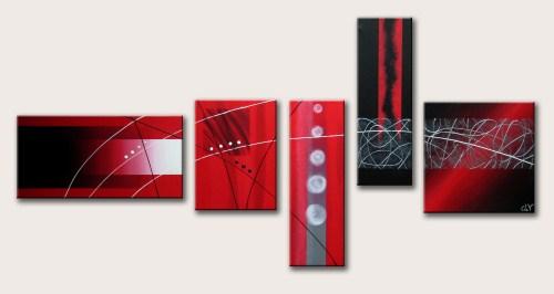 Tableau contemporain par clo v tableau design polyptique rouge n 44 - Tableau cuisine rouge ...