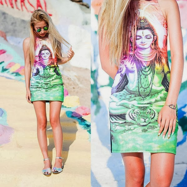 Motel Rocks Zena Bodycon Dress in Rainbow Shiva Print