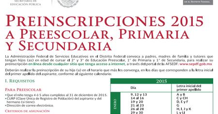 ... Inscripciones Primaria, Secundaria, Preescolar Convocatoria 2015-2016