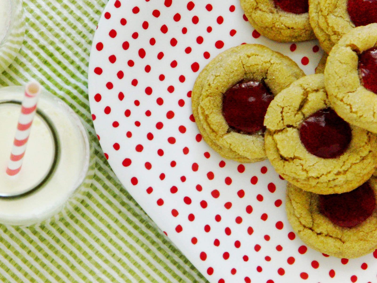 Curly Girl Kitchen: Peanut Butter and Jelly Thumbprint Cookies