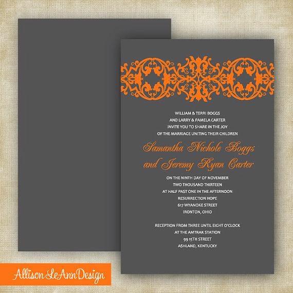 invitación de boda naranja