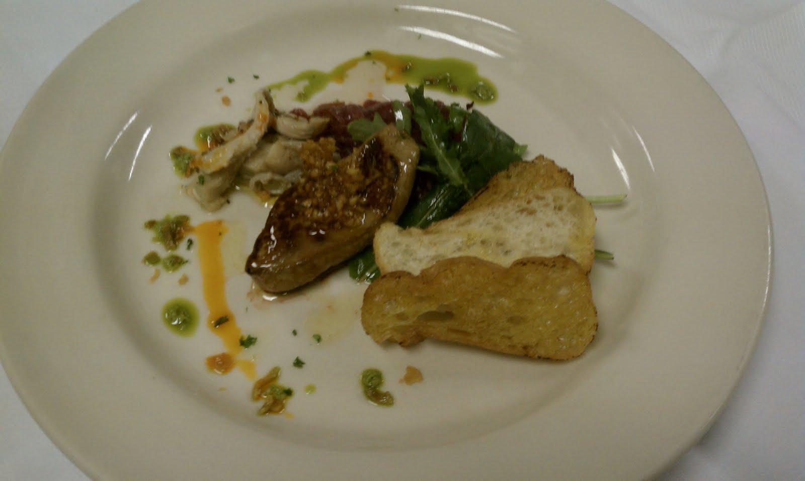 Seared foie gras, brioche, red onion jam, pickled oyster mushroom ...