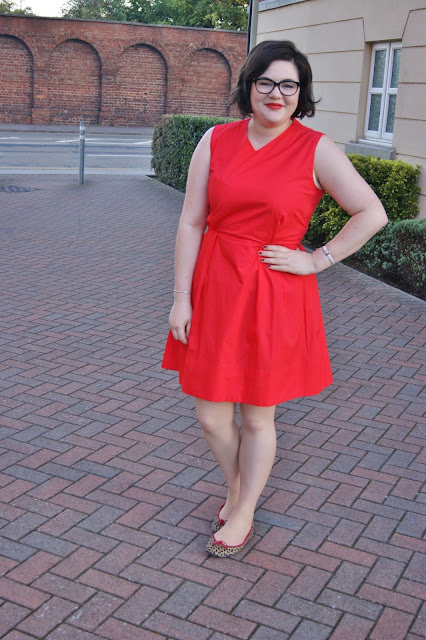 Gap bright red work dress, French Sole leopard print flats with red trim, Monday morning, workwear, MAC Lady Danger (1)