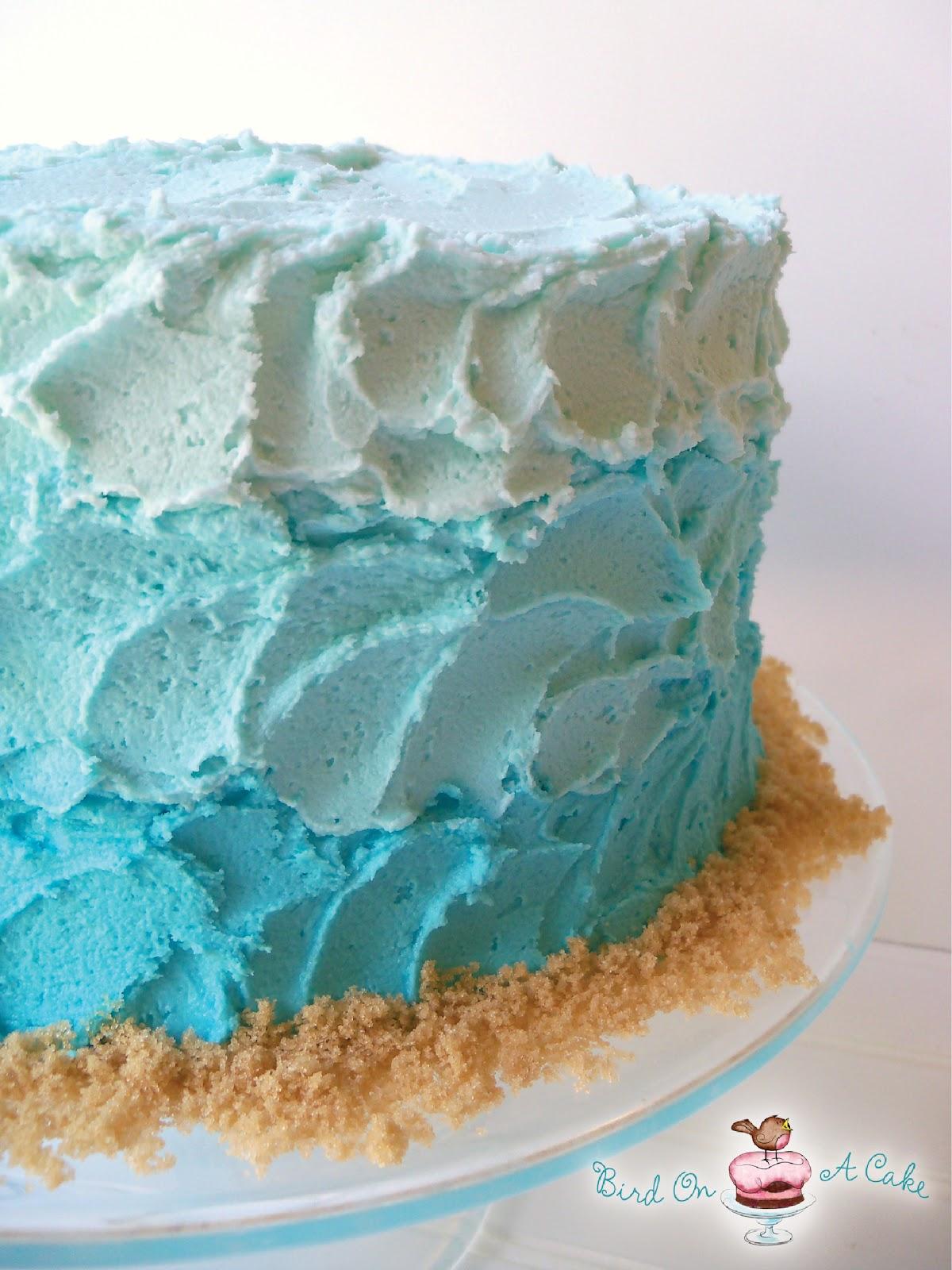 Bird On A Cake Ombre Beach Cake With Sand Dollars