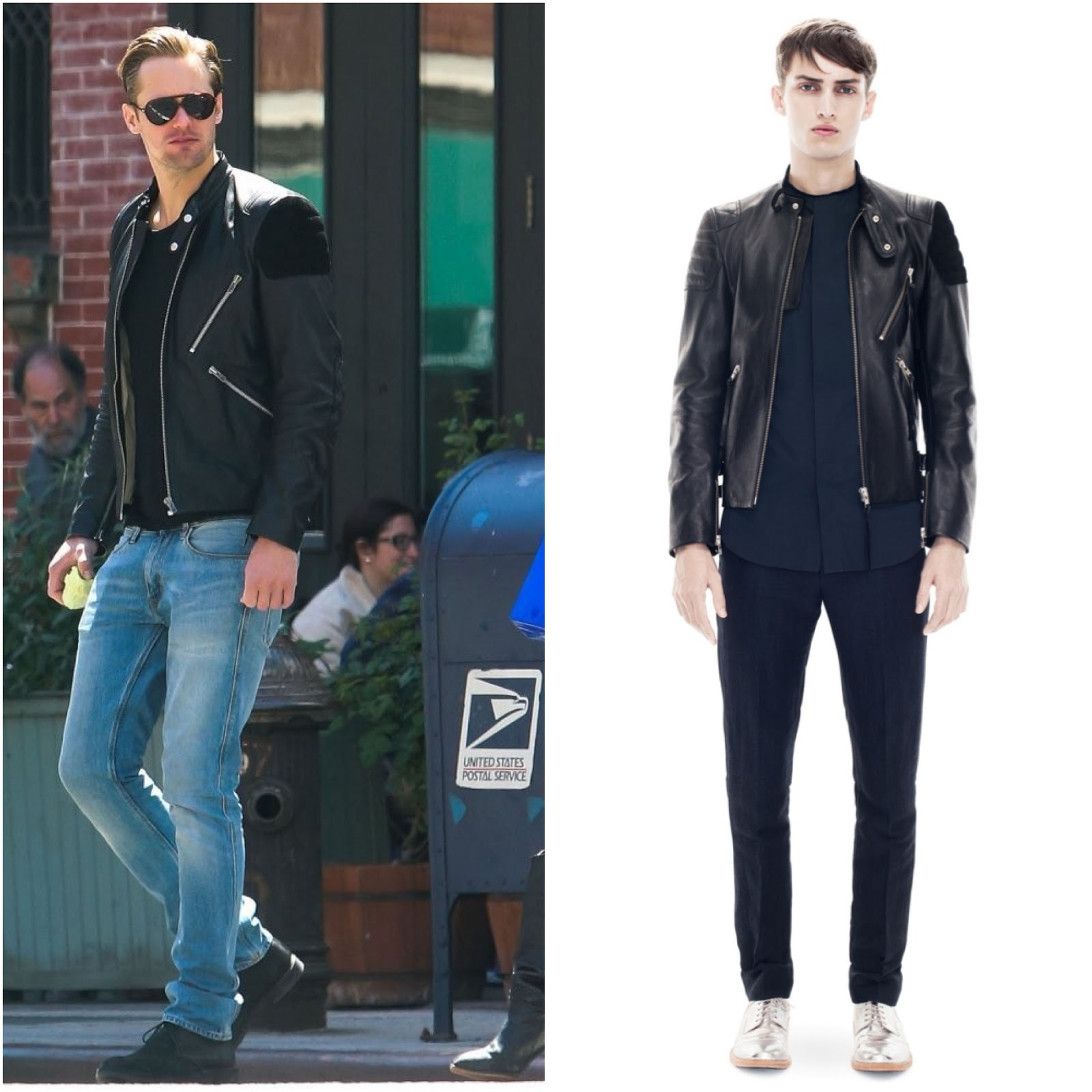 00O00 Menswear Blog: Alexander Skarsgard in Acne Studios 'Oliver' leather and suede biker jacket - New York Street Style May 2013