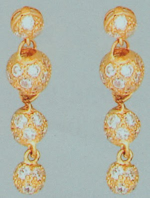 21k Gold 3 balls dangling earrings