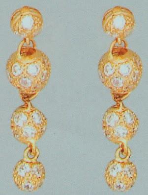 21k Gold 3 balls dangling earrings