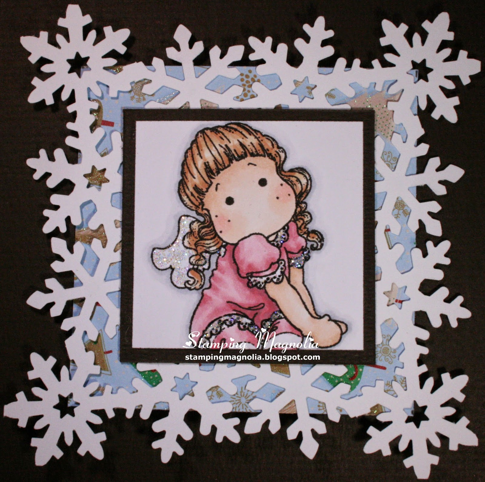 Coloring Magnolia Stamp Merry Little Christmas Collection - Sitting Angel Tilda