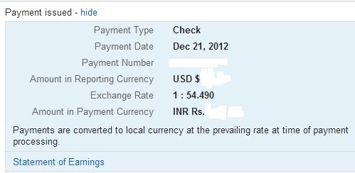 Google adsense payment issued summary box