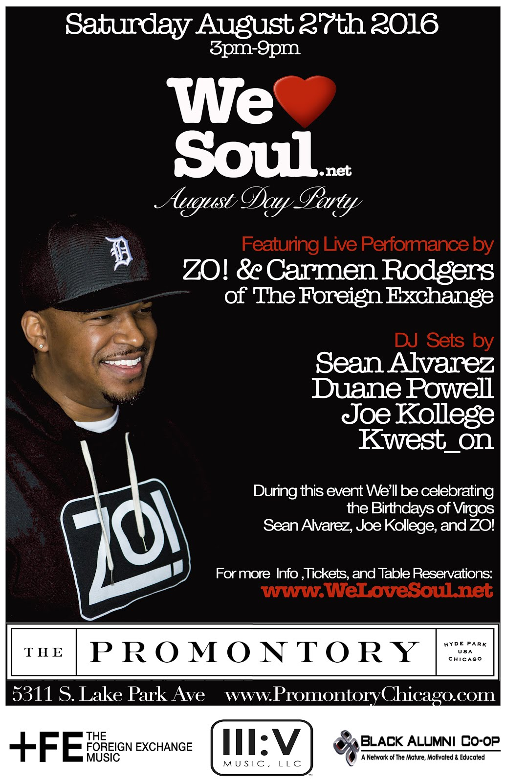 Sat Aug. 27th: We Love Soul August Day Party feat. ZO! & Carmen Rodgers LIVE!!!