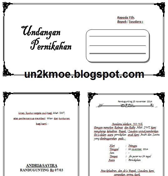 ... Just For You: Undangan Pernikahan HVS 3 Kolom Fotokopi Gratis