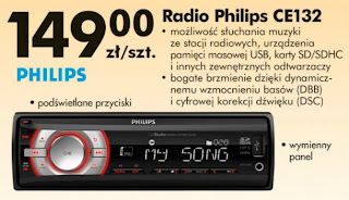 Radio samochodowe Philips CE132 Biedronka ulotka