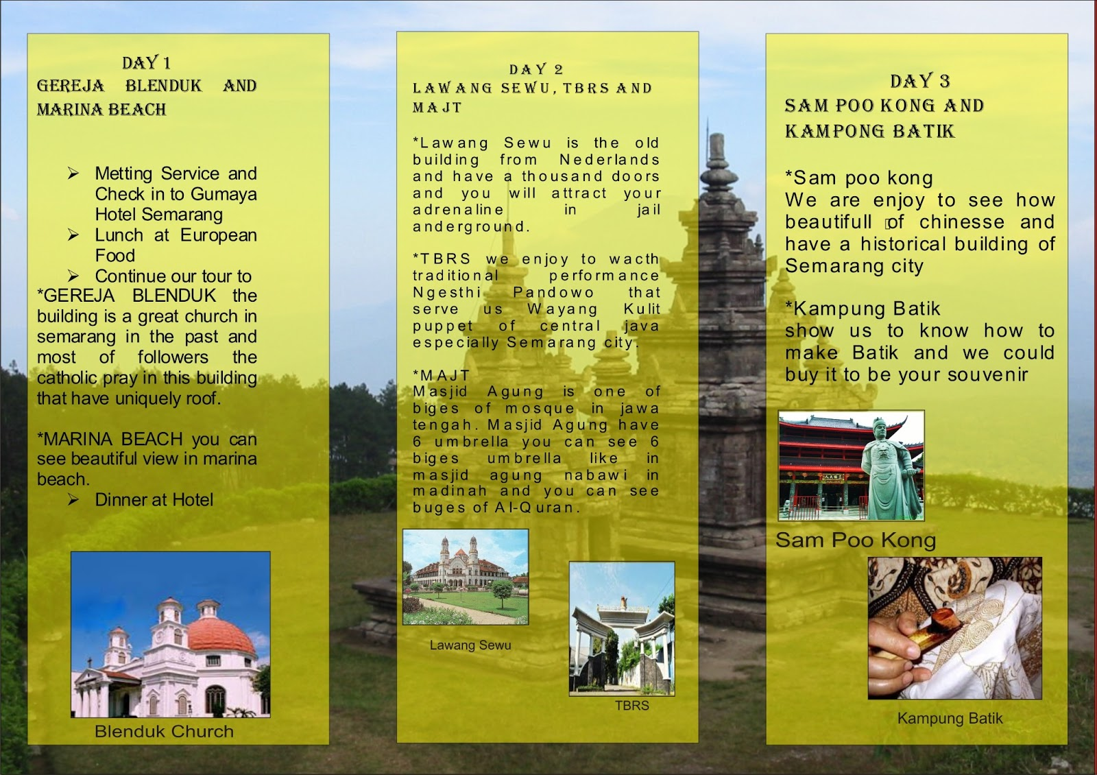 OUR FIRST TOUR PACKAGES BROCHURE