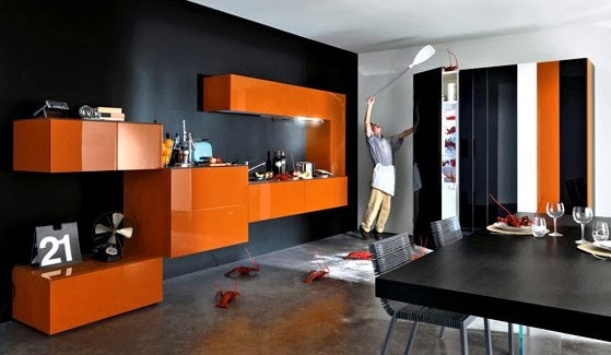 cuisine orange et noire. Black Bedroom Furniture Sets. Home Design Ideas