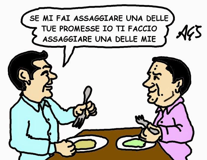 Renzi, Tsipras, fiscal compact, satira , vignetta
