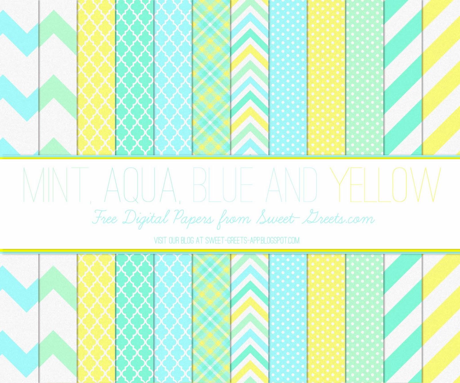 Free Digital Paper: Mint, Aqua, Blue and Yellow