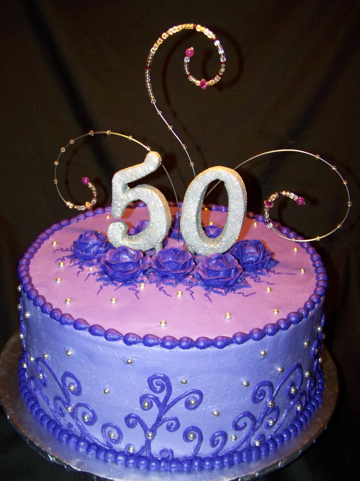 Purple And Bling 50th Birthday Cake