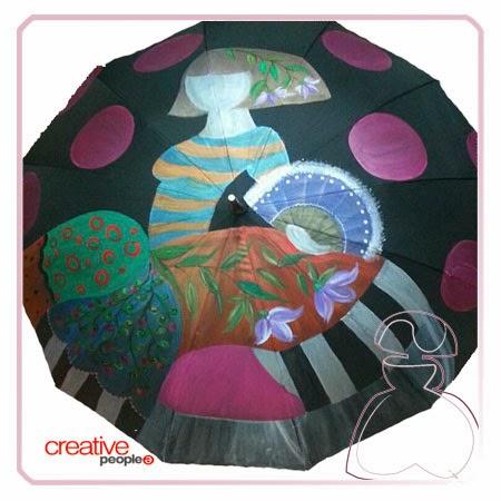 Pintar un paraguas a mano por Sylvia Lopez Morant, detalles