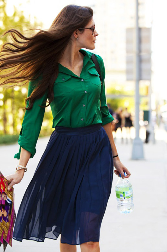 pleated midi skirt and button up shirt