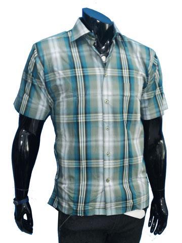 Kemeja-pria-stylish-biru-hijau-motif-garis-sht-63 katun
