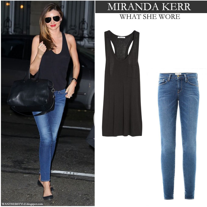 WHAT SHE WORE Miranda Kerr in black tank top with blue skinny jeans at the U.S. Open Womenu0026#39;s ...