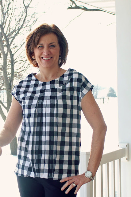 Butterick 5610 top made using Style Maker Fabrics' black-white gingham