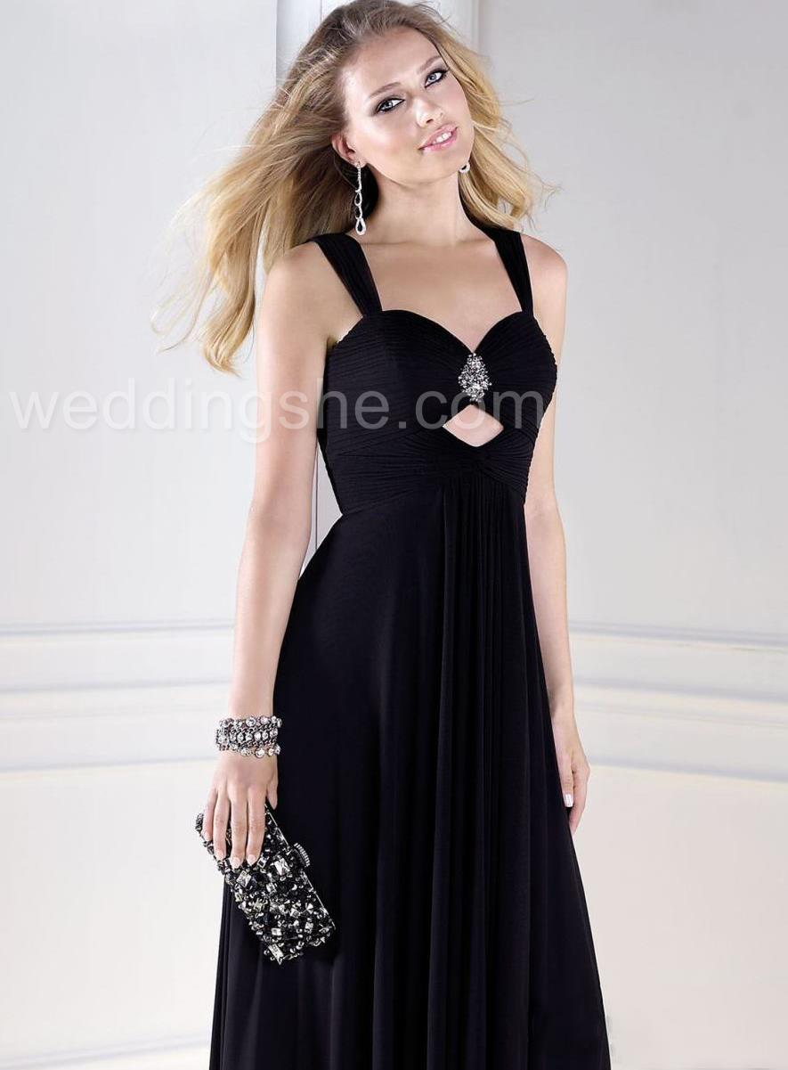 Embellished black prom dress