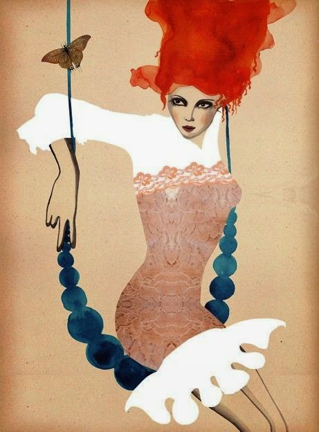 illustration of a red haired woman on a swing by Peggy Wolf