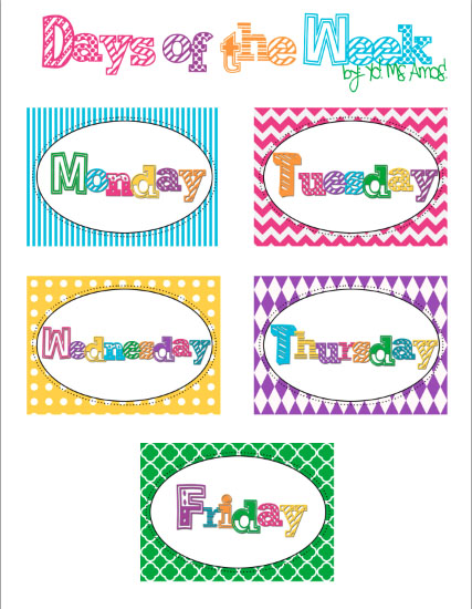 Peaceful image within printable days of the week labels