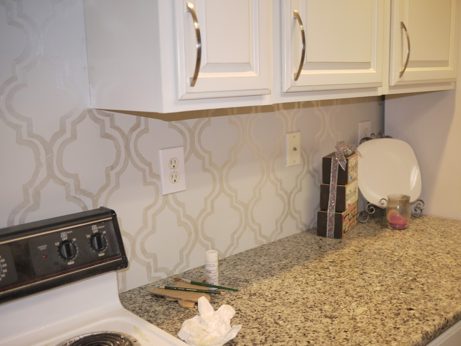 Pembroke Lane Our Pearlized Stenciled Backsplash